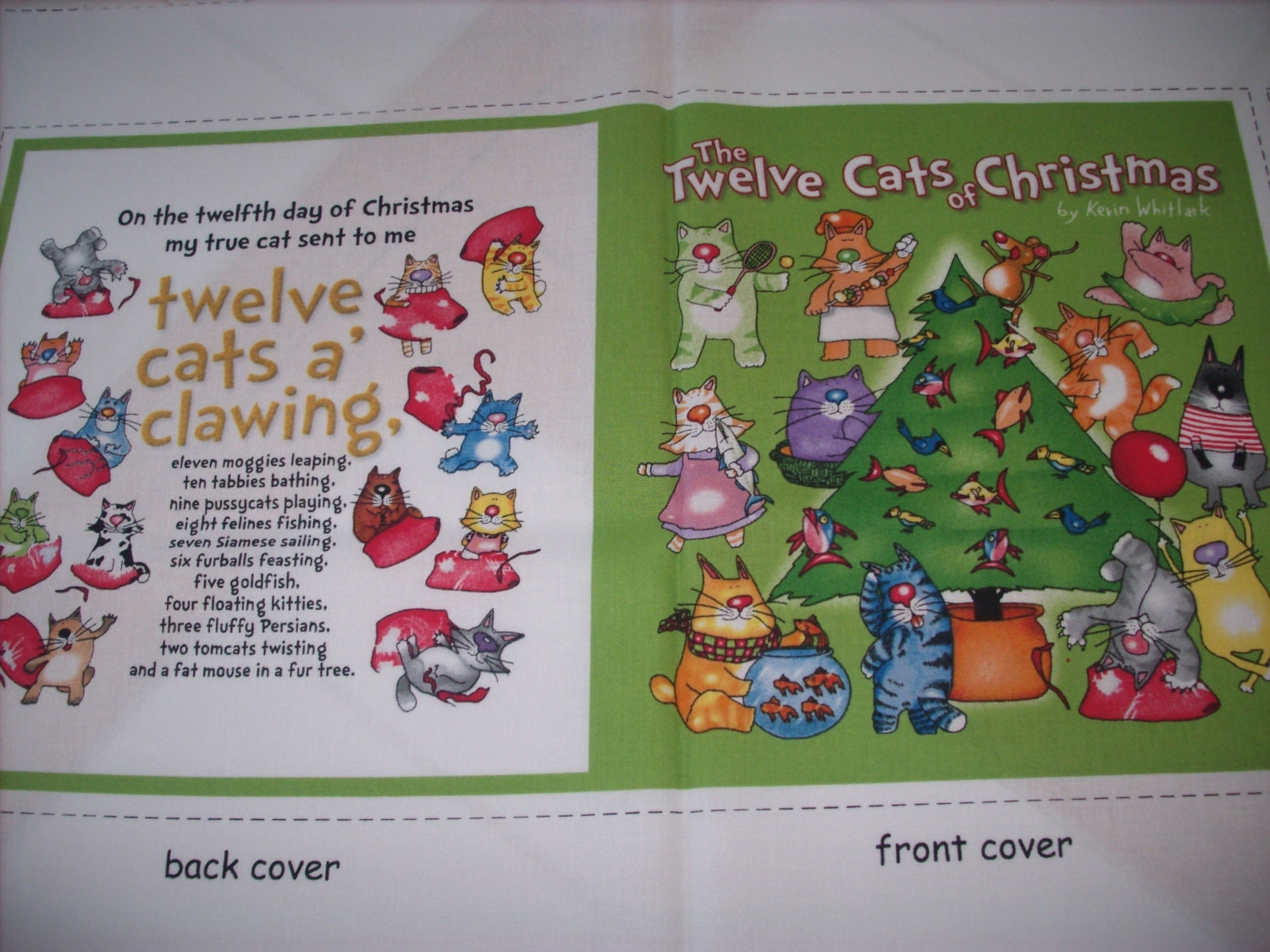Cloth storybook panel to make the twelve cats of christmas Build storybook