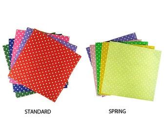 "Craft Felt Fabric - Cut Glue Sew - Polka Dot Felt Squares x 10 Sheets - 12"" Square - 2 Colourway Sets"