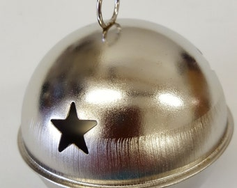 Large Silver Jingle Bell - Christmas Tree Decoration Gift - Big Bells - Pixie Elf Craft