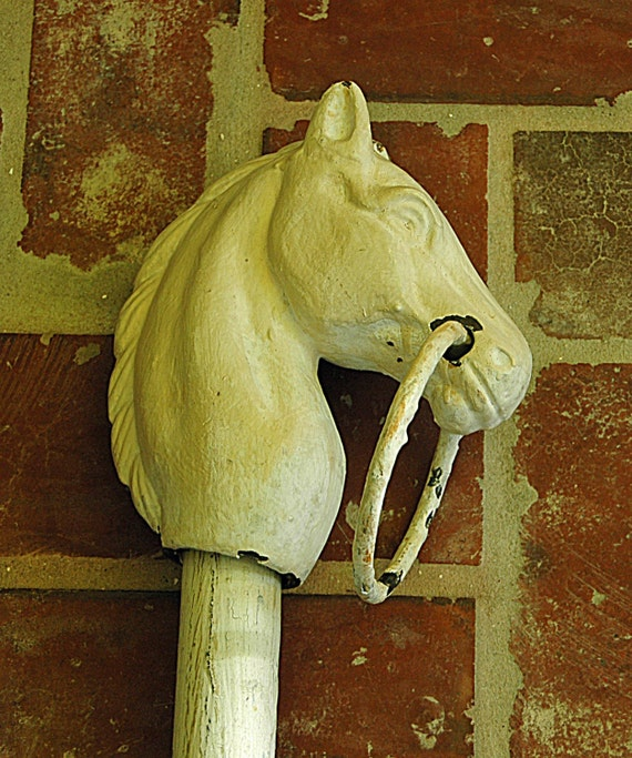 "Antique Cast Iron HORSE HEAD HITCHING Post Cap With Tie Ring, 80"" Post, Original Old White Paint, No Shipping - Pick-up by Appointment Only."