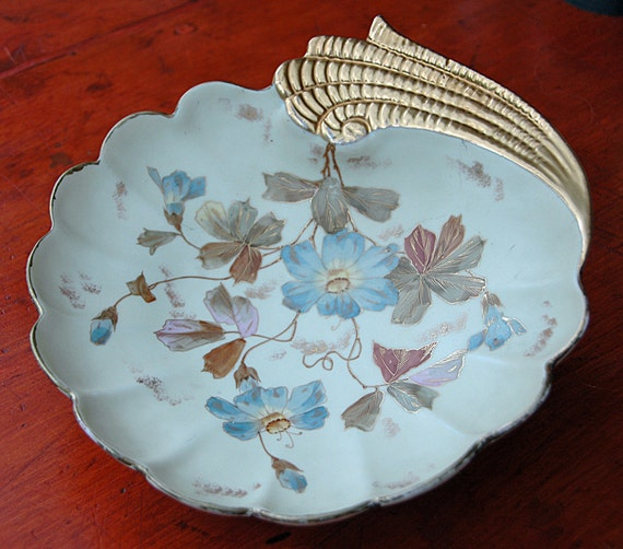 Price Reduced Antique NEW YORK & RUDOLSTADT Germany 1889 Hand Paintd Art Nouveau Blue n Lavender Flowers Heavy Gold Trim Exc Condition