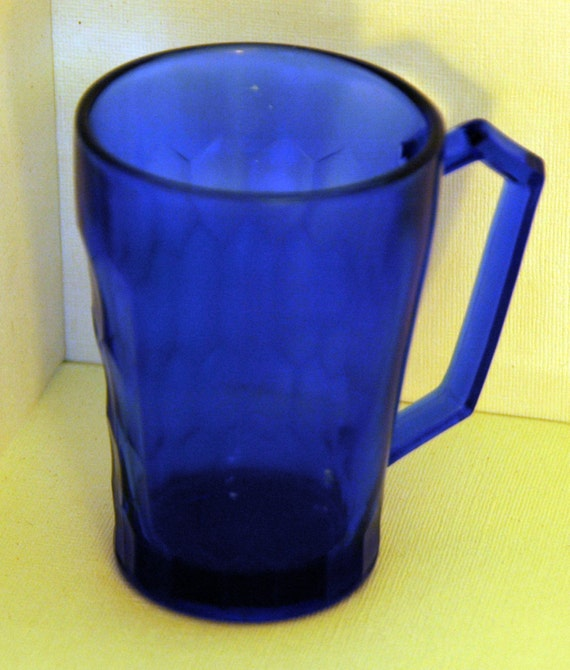 Reduced Vintage C 1935 Shirley Temple COBALT BLUE MUG w/ Handle Made by The Hazel Atlas Glass Co Shirley Temple Missing Image Exc Condition