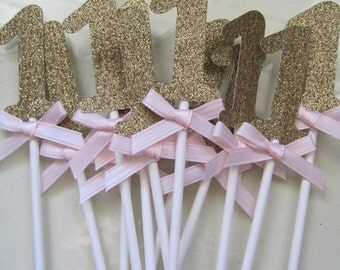 12 gold Glitter number 1 cupcake toppers