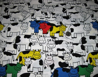 "Vintage Cotton Fabric Yardage Moo Cows Galore 45"" Wide 2 Yards Long"