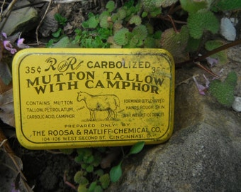 Vintage Farm Tin - R and R Mutton Tallow With Camphor - Advertising