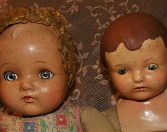 "2 sweet tlc composition dolls ~ 1930's Madame Alexander 23"" Little Genius Composition doll PLUS a 21"" Composition doll"