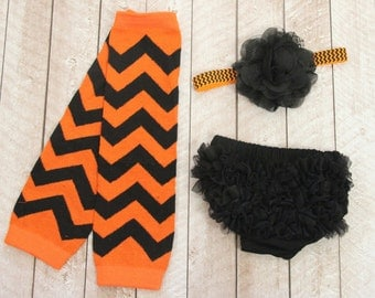Halloween Baby Girl Ruffle Bottom Bloomer, Leg Warmer & Headband Set in Orange and Black - Newborn Photo Set - Costume - Diaper Cover