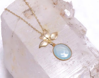 Pale Aqua Chalcedony -or-Smokey Topaz- Necklace with Leaf Detail-  Silver-Gold