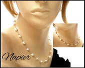 Vintage Pearl Choker, NAPIER White Pearls & Silver Chain, Adjustable, Bridal Choker Bridesmaid Necklace, Beach Jewelry, Gift for Her