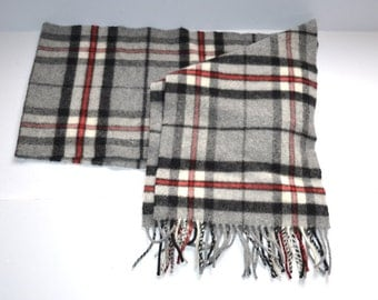 """Vintage 90s pure lambswool designer  Johnstons  long scarf  9.5"""" x 74""""  check plaid   gray, black, red made in Scotland gift for her or him"""