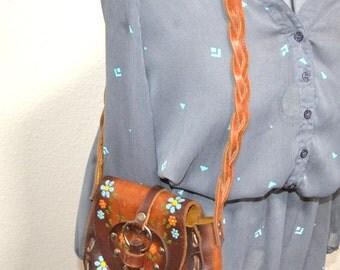 Vintage hippie  stitched bag tooled purse 70s brown leather flap boho Satchel messenger shoulder bag organizer travel floral  back to school