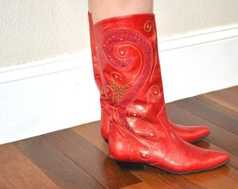 Vintage Margaret Jerrold red  leather cowboy  boots   size 7 1/2 N Western boots Decorative Cutout studs embroidery Made in USA