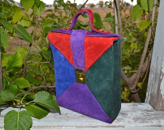 Vintage 80s Rush Hour structured purse  suede leather color block red purple green blue handbag boxy purse crossbody messenger bag