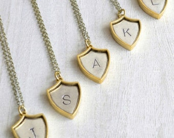 Initial Shield Necklace, personalized jewelry