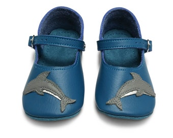 Handmade leather baby shoes.  Baby girl shoes. Teal blue dolphin shoes. Soft soled shoes. Crib shoes.