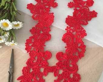 Red venise lace applique for costume design ,Jewelry design, rose lace applique