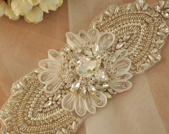 3D Rhinestone Applique, Beaded Crystal Applique for Bridal Sash, Wedding Gown, Belt, Headpiece, Hair Flowers