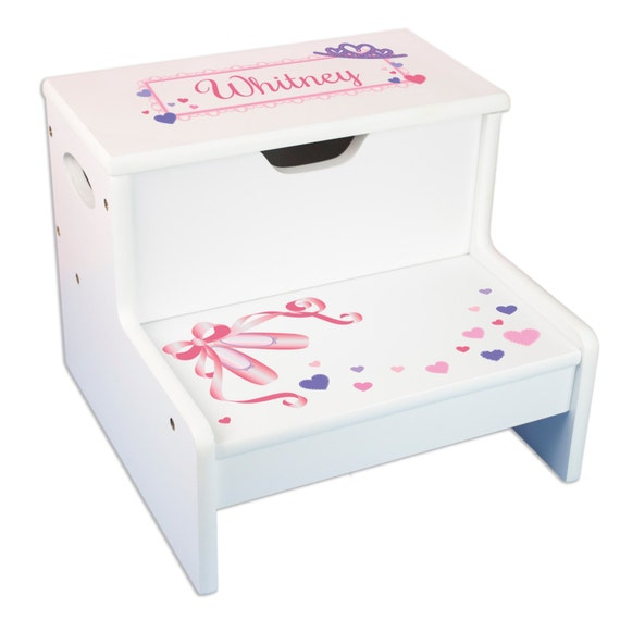 Girls Personalized Step Stool With Storage Childs By Mybambino