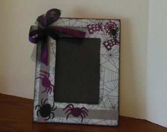 5 x 7 Halloween Frame / Spider / Eeeek / Holiday / Handmade / Decorated Frame