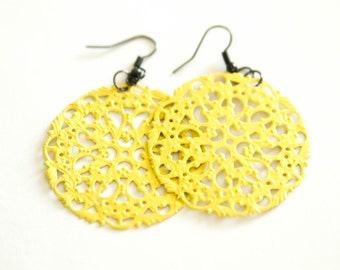 Yellow Metal Round Dangles