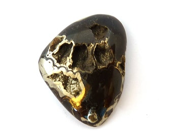 Ammonite with Pyrite Designer Cab Gemstone 35.7x45.9x11.0 mm 122 carats Free Shipping