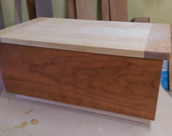 Large Wooden box from Cherry, Maple, and Oak with tray