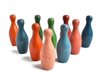 "10 amazing colorful 3 3/4"", small bowling pins, skittles, wooden toy, from Elizabeth Rosen"