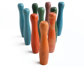 """10 amazing colorful 4 1/2"""", small bowling pins, skittles, wooden toy, from Elizabeth Rosen"""