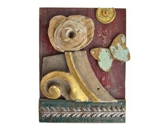 SPRING mixed media assemblage art reclaimed wood wall art flower butterfly art by Elizabeth Rosen
