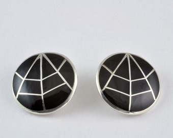 Kay Begay Rogers Sterling Silver Earrings - Black Spider Web Design - Jewelry Gift for Her, Clip on Signed Inlaid Earrings with Jet / Silver
