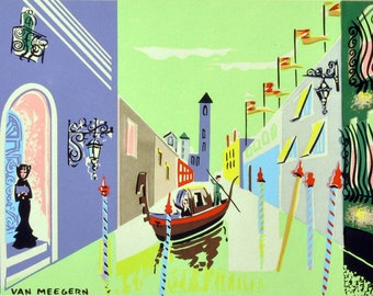 Mid-Century Color Print of Venice Canal - Van Meegern - Modern Print of Venice, Italy in Green and Purple - Italian Gondola Wall Art -