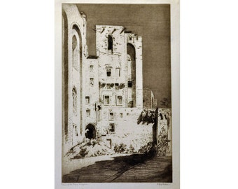 Palais of the Popes, Avignon - Original Vintage Etching with Aquatint by A. Hugh Fisher - 1920s - Landscape Architectural Artwork Home Decor