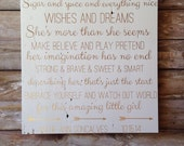 Quote for little girls room. Gold letters. Personalized with name snd birthday. Little girls room, nursery. Inspirational sign