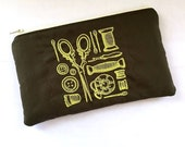 Yellow Notions Embroidered Zip Pouch on Dark Brown
