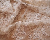 ivory beading cord lace fabric, super delicate lace fabric