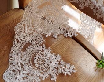 ivory cord lace trim, alencon lace trimming for bridal, bridal lace trim