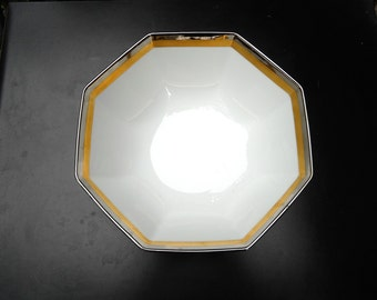 Platine d'Or Octagonal Fitz & Floyd 9 inch Bowl Gold, Platinum Bands on White China