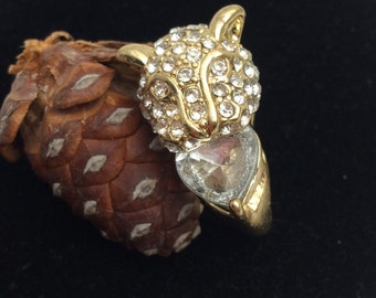 Vintage Leopard Ring, Size 6, Gold Tone, Large Rhinestones, retro  Animal Figural, HALF OFF Sale, Item No. B698