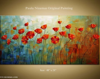 Oil painting on canvas Poppies Textured Red and Blue Art Wall Decor by Paula ready to hang