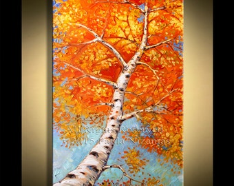 "Glowing Silver Birch Painting -   Original 48""  by Paula Nizamas Palette Knife Abstract Impressionist Birch Trees in Fall Autumn"