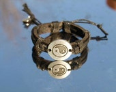 leather ying and yang  bracelet ,handcrafted,
