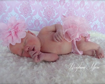 Beautiful Parley Ray Pink Satin and Sheer Ruffled Diaper Cover/ Baby Bloomers/ Newborn Photo Prop / Pageants