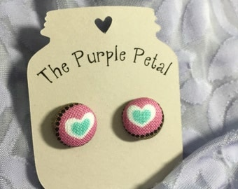 Mint Hearts Fabric Button Earrings