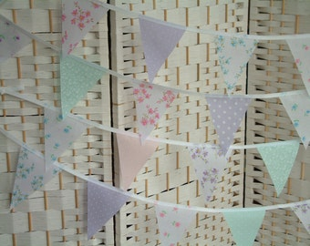 """Mixed pretty pastels. Fabric mini-bunting, banner. Per metre (39""""). Baby girl. Shower. Lilac, aqua, pink, mint. Floral and dots. Adorable!"""