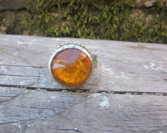 Vintage Metal Ring Orange Stone Size 9 1/2 Chunky Ring Fortune Teller Gypsy Jewelry Belly Dancer Ethnic Mediterranean Stocking Stuffer