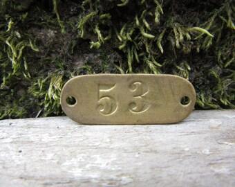 Number Tag Vintage Original Locker Basket Tag Brass Metal Number 53 Tag #53 Tag Lucky Number Address Door Number vtg Early 1900's Old