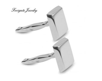 Sterling Silver Square Engravable CUFF LINKS Groomsmen Gift
