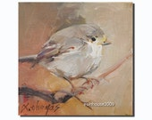 "6X6"" Original Oil Painting Bird Pictures Robin Chickadee Animals wildlife Art"