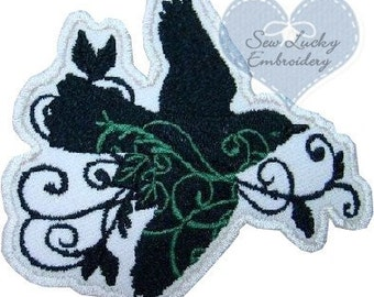 Filigree Bird Applique Embroidered Patch , Sew or Iron on
