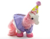 Party Time My Little Pony Wear Birthday Outfit Vintage G1 Clothes - Dress, Hat, Shoes